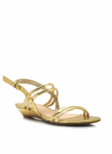 Metallic Slingback Wedge Sandals