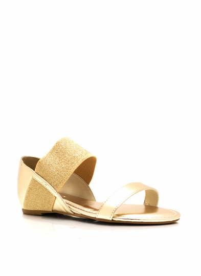 Metallic Strappy Low Wedge Sandals