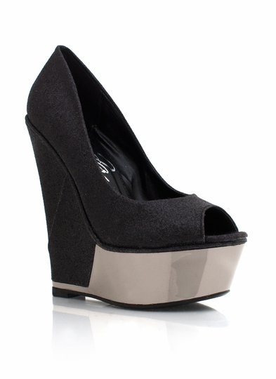 Metallic Trim Glitter Wedge