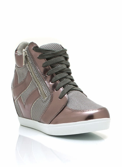Metallic Trim Sneaker Wedges