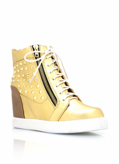 Metallic Wedge Spiked Sneakers
