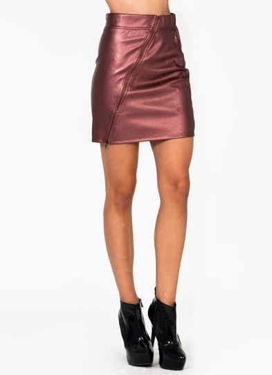 Metallic Zipper Skirt