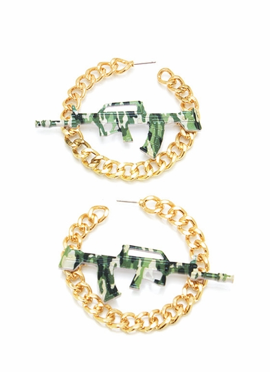 Military Babe AK47 Earrings