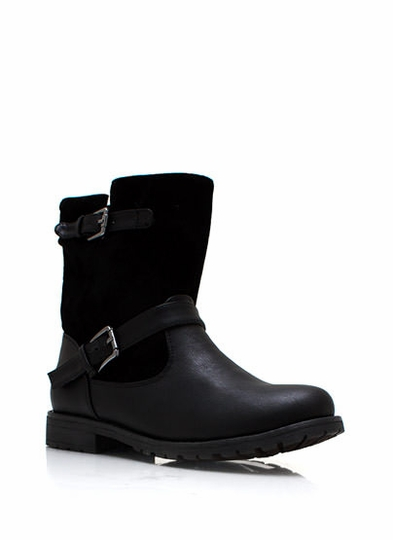 Mixed Double Buckle Engineer Boots