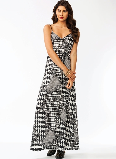 Mixed Harlequin Maxi Dress