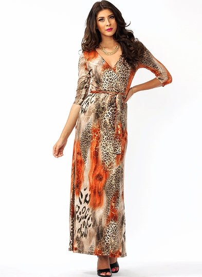 Mixed Safari Maxi Dress