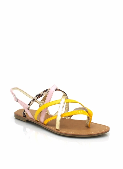Mixed Texture Strappy Sandals