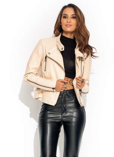 Moto Race Faux Leather Jacket