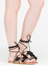 Mythical Land Woven Lace-Up Sandals