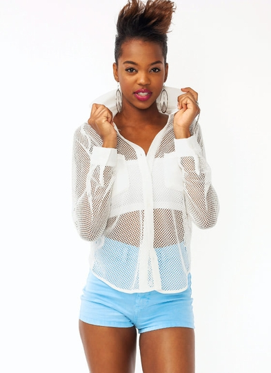 Net Button-Up Top