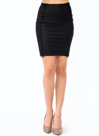 Net Overlay Pencil Skirt