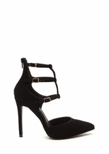New Age Pointy Caged Faux Nubuck Heels