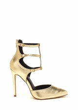 New Age Pointy Caged Metallic Heels