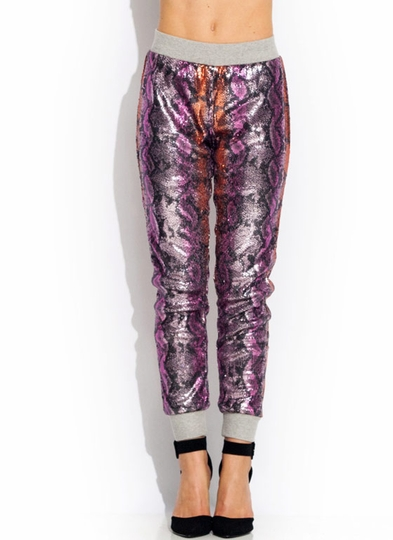 No Scaling Back Sequin Snake Joggers