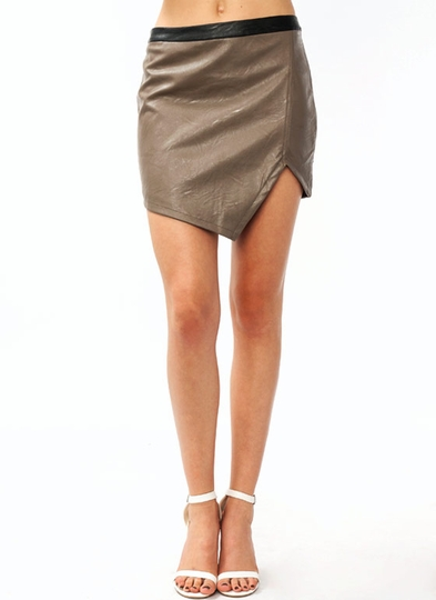Notched Faux Leather Skirt