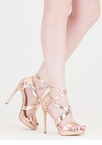 Oh Strappy Day Metallic Caged Heels