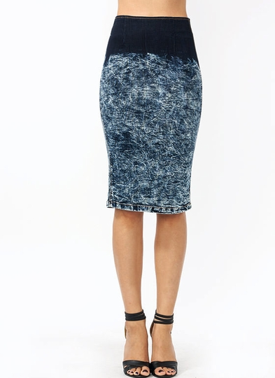 Ombre Acid Wash Pencil Skirt
