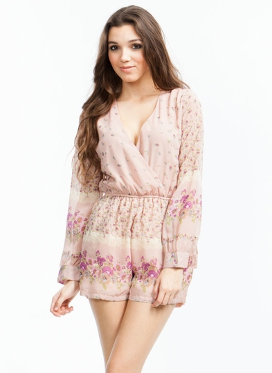 On Floral Grounds Chiffon Romper