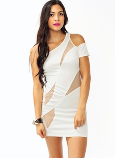 One Shoulder Mesh Dress