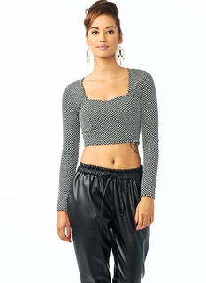 Open Back Dotted Cropped Top