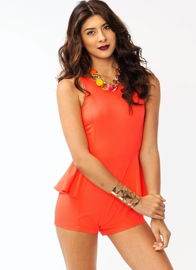 Open-Back Peplum Romper