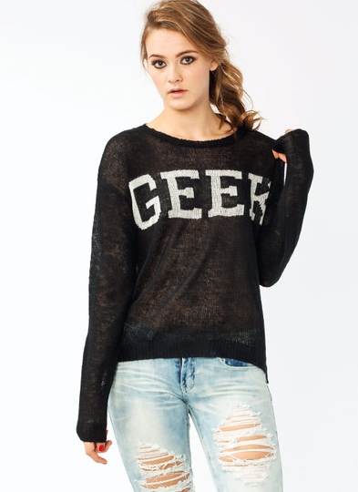 Open Knit Geek Graphic Sweater