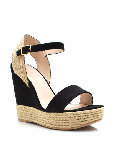 Open Toe Espadrille Wedges