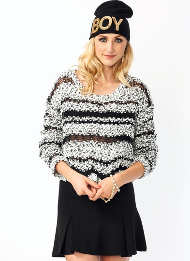 Open Weave Chenille Sweater