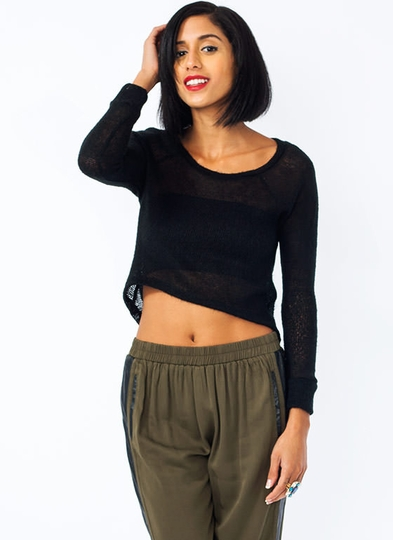 Open Weave High-Low Sweater