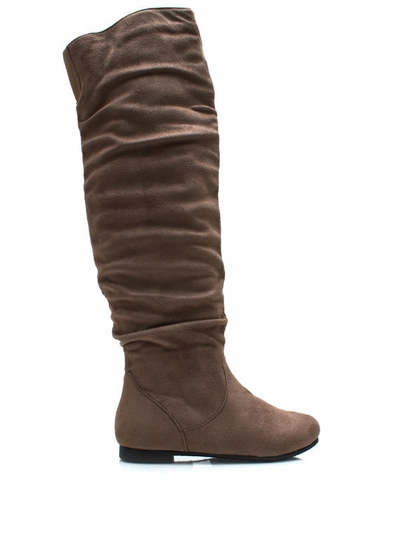 Over-The-Knee Faux Suede Flat Boots
