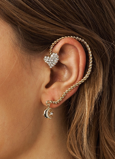 Over The Moon Heart Ear Cuff
