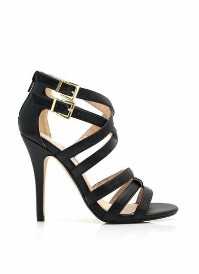 Over-Under Strappy Woven Heels