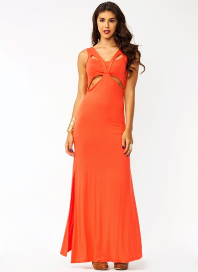Overlapped Double Slit Maxi Dress
