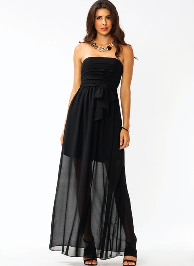Overlapping Chiffon Maxi Dress