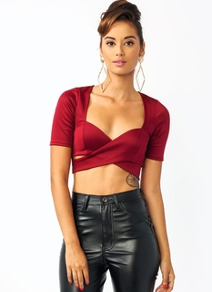 Overlapping Sweetheart Cropped Top