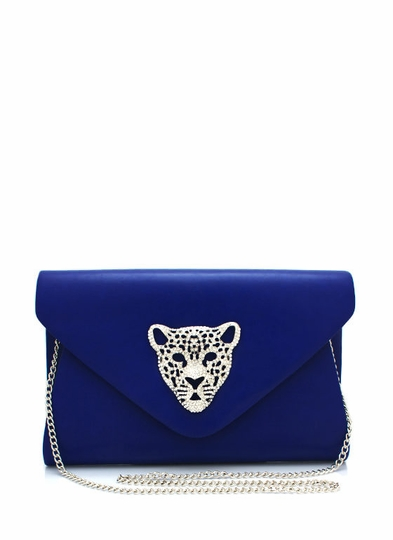 Oversized Embellished Leopard Clutch