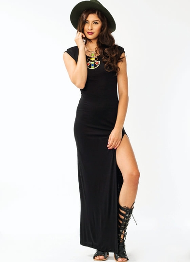 Padded Shoulder Slit Maxi Dress
