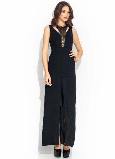 Paillette Accent Maxi Dress