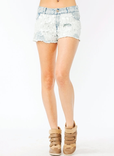 Paillette Distressed Denim Shorts