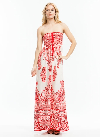 Paisley Princess Strapless Maxi Dress