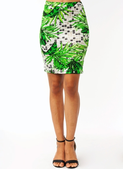 Palm Frond Tiled Pencil Skirt