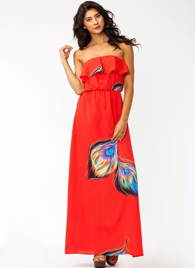 Peacock Strut Ruffle Maxi Dress