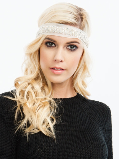 Pearl Accent Mesh Headband