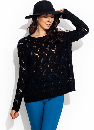 Peek Show Open Weave Sweater