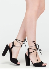 Peep In The Night Chunky Lace-Up Heels