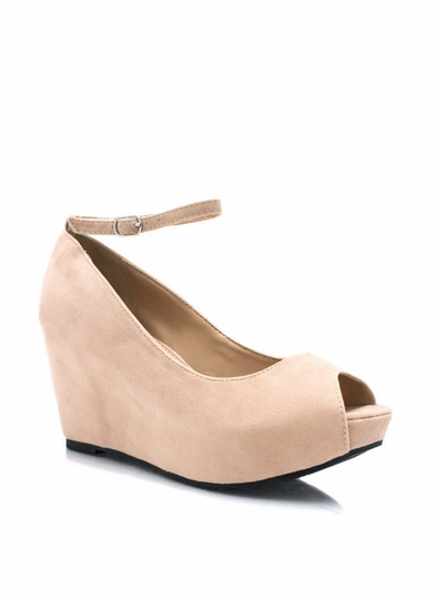 Peep It Faux Suede Wedges