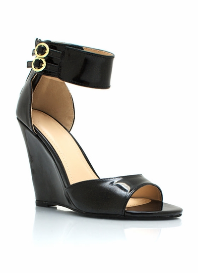 Peep-Toe Ankle Strap Wedges