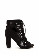 Pencil You In Lace-Up Caged Heels