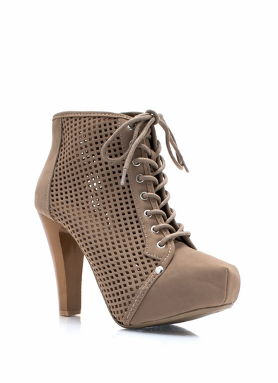 Perfectly Perforated Faux Nubuck Booties