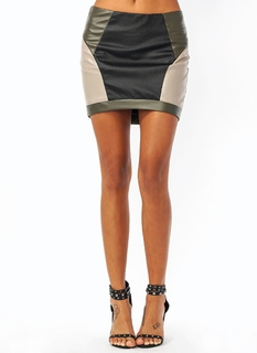 Perforated Colorblock Mini Skirt